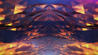 Polygon Sunset Cloud Glass