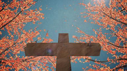 Digital Autumn Forest Cross