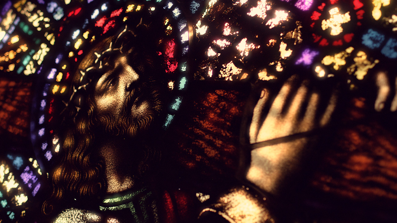 Stained Glass Jesus Cross