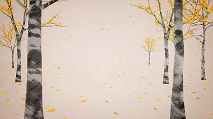 Digital Autumn Birch Forest