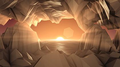 Digital Mountains Cave Sunrise