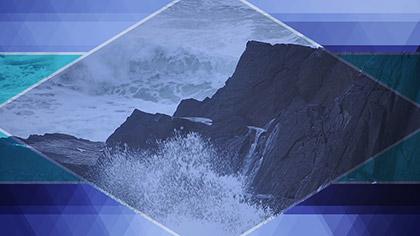 Prism Waves Crashing Rocks