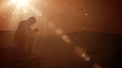 Particle Glow Prayer Kneeling
