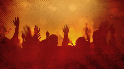 Worship Group Hands Orange Filtered