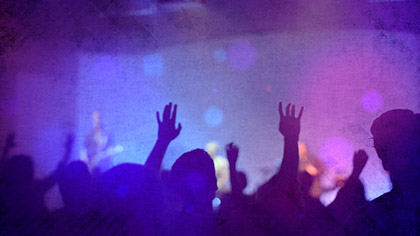 Worship Group Hands Purple Filtered