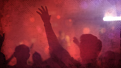 Worship Group Hands Red Filtered